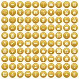 100 heating icons set gold. 100 heating icons set in gold circle isolated on white vectr illustration Royalty Free Stock Photography