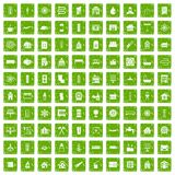 100 heating icons set grunge green Stock Image