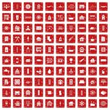 100 heating icons set grunge red. 100 heating icons set in grunge style red color isolated on white background vector illustration Vector Illustration