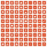 100 heating icons set grunge orange. 100 heating icons set in grunge style orange color isolated on white background vector illustration Stock Image
