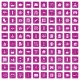 100 heating icons set grunge pink. 100 heating icons set in grunge style pink color isolated on white background vector illustration Stock Images