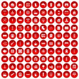 100 heating icons set red. 100 heating icons set in red circle isolated on white vectr illustration Royalty Free Illustration