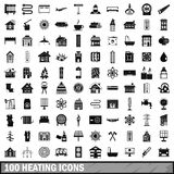 100 heating icons set, simple style Royalty Free Stock Photography