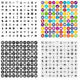100 heating icons set variant. 100 heating icons set in 4 variant for any web design isolated on white stock illustration