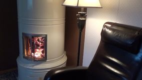 Heating livingroom fireplace stock footage