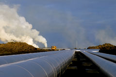 Heating pipes in Iceland. Pipes from heating plant in lava field in Iceland Stock Images