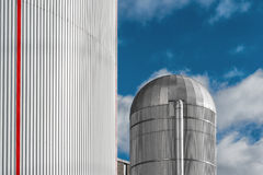 Heating Plant with a Aluminum Silo in Center stock photography