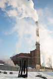Heating plant with big chimney Stock Photography