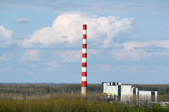 Heating plant with high chimney Royalty Free Stock Images
