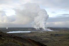 Heating plant in Iceland. Heating plant in lava field in Iceland Stock Photography