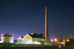 Heating plant at night Royalty Free Stock Photo