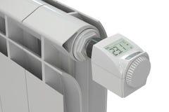 Heating radiator with digital radiator thermostatic valve, 3D re Stock Photos