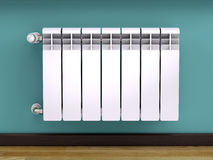 Heating radiator with thermostat Royalty Free Stock Photos