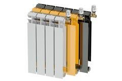 Heating radiators with radiator thermostatic valves, 3D. Heating radiators with radiator thermostatic valves Royalty Free Stock Photos