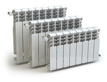 Heating radiators  on white Stock Photo