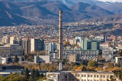 Heating steam plant chimney in the city of Tbilisi