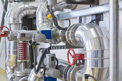 Heating system. Tubes and valves Royalty Free Stock Image