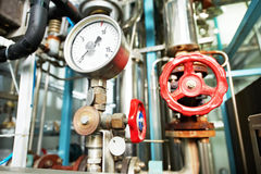 Heating system Boiler room equipments stock photos