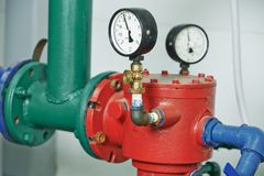 Heating system Boiler room equipments Royalty Free Stock Photos