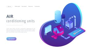 Heating system concept isometric 3D landing page. royalty free stock image