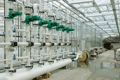 Heating system department of glasshouse Royalty Free Stock Photo