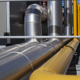 Industrial Pipelines. Heating system Pipelines.  Square format picture Royalty Free Stock Photos