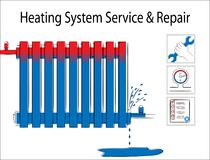 Heating system service and repair.Illustration with leaky  heating radiator. Stock Photo