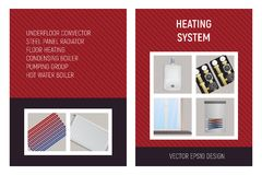 Heating system. Trench convector, pump unit, boiler, steel panel radiator, floor heating. Royalty Free Stock Photo