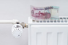 Heating thermostat with money Royalty Free Stock Images
