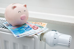 Heating thermostat with piggy bank and money Stock Photos