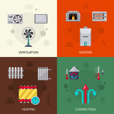 Heating Ventilation And Convection Icons Set. Heating ventilation and convection flat icons set isolated vector illustration Stock Photos