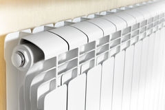 Heating white radiator radiator. Royalty Free Stock Photos