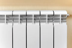 Heating white radiator radiator. Stock Photos
