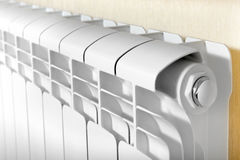 Heating white radiator radiator. Stock Photos