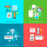 Heatingand conditioning icons set Stock Photography