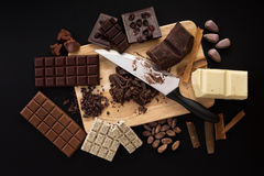 Heatlhy mix of chocolate handmade candies on a kitchen table Stock Photography