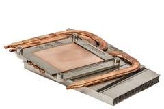 Heatpipe och element för att kyla av processorn, kylsystem, arkivbild