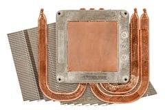 Heatpipe och element för att kyla av processorn, kylsystem, arkivbilder