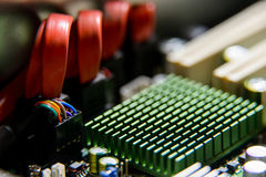 Heatsink closeup on the computer motherboard Royalty Free Stock Image