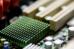 Heatsink closeup on the computer motherboard Stock Image