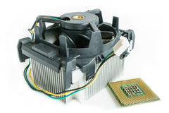 Heatsink with cpu in isometric. Top view Stock Images