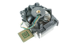 Heatsink with cpu top view. Heatsink with cpu in isometric top view Royalty Free Stock Images