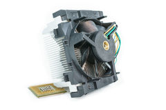 Heatsink with cpu top view. Heatsink with cpu in isometric top view Royalty Free Stock Photo