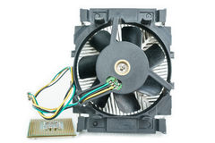 Heatsink with cpu top view Stock Photo