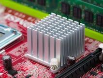 Heatsink op computermotherboard Stock Afbeelding