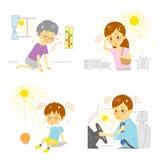 Heatstroke Heat exhaustion. Heatstroke, heat exhaustion, heat illness, senior and child, woman and man, symptoms Stock Photography