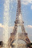 Fountains of Trocadero by the Eiffel Tower. Summer Heat wave. Heatwave alerts in the Paris region  : Above normal temperatures are sweltering stock images