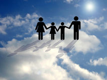 In Heaven ... A family with shadow on the cloud. People made like a sign style royalty free stock photo