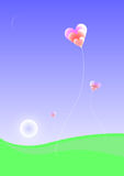Heaven. Heart balloons flying Royalty Free Illustration