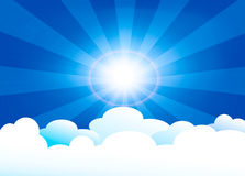 In heaven. Vector illustration of heaven with sun and clouds royalty free illustration